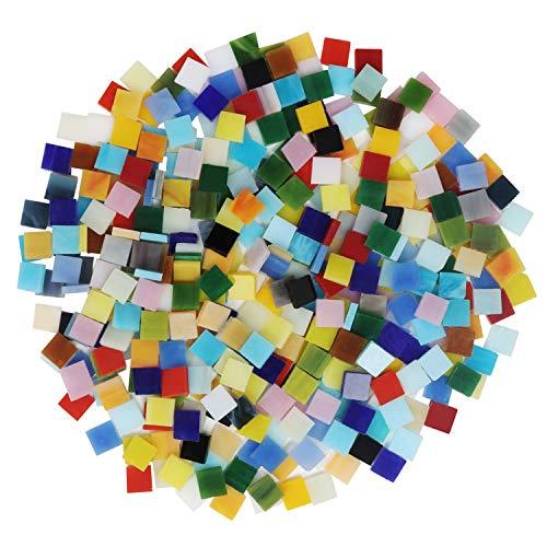 Belle Vous Mosaico Tesela Colores Mixtos Vidrio Tintado (700 Piezas / 500 g) 1 x 1 cm - Kit Mosaico Azulejos Variados Cuadrado Decoración del Hogar, Marcos de Fotos, Macetas, Manualidades