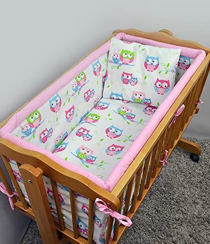 Lot de 6 Parure de lit de berceau avec Terry Drap + polyvalent Bumper, compatible avec berceau 90 x 40 cm