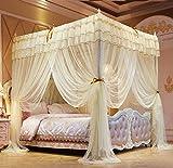 Piso de tres puertas palacio palacio cuenta de mosquitos doble tienda cuenta acero inoxidable anti mosquito tienda 1.8x2.0 metros cama Milan Night Beige NK 180 * 200cm