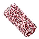 Lifreer 1 rollo de hilo de Navidad, cuerda de algodón, cuerda de jardín, gemelos de regalo, manualidades (rojo y blanco)