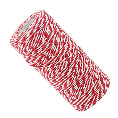 Lifreer - 1 rotolo di spago di Natale, corda di cotone, corda da giardino, spago regalo, fai da te (rosso e bianco)