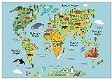 Panorama Póster Infantil para habitación Mapa Mundi Niños Animal 30x21cm - Impreso Papel 250g -...