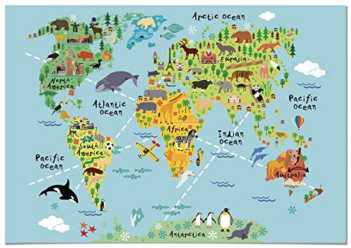 Panorama Canvas voor Kinderkamer Wereldkaart Kinderen Dieren 70x50cm - Gedrukt op Canvas met Frame - Schilderijen voor Kinderen - Fotos voor Baby en Kinderkamer - Babykamer Inrichting