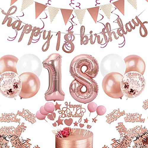 Juego de decoración de cumpleaños de oro rosa, 55 piezas, con número 18, decoración de cumpleaños para niñas, confeti de color oro rosa, decoración para fiestas, juego de globos