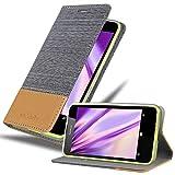 Cadorabo Hülle für Nokia Lumia 630 in HELL GRAU BRAUN - Handyhülle mit Magnetverschluss, Standfunktion & Kartenfach - Hülle Cover Schutzhülle Etui Tasche Book Klapp Style