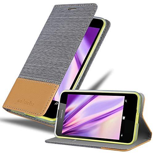 Cadorabo Hülle für Nokia Lumia 630 - Hülle in HELL GRAU BRAUN – Handyhülle mit Standfunktion & Kartenfach im Stoff Design - Case Cover Schutzhülle Etui Tasche Book