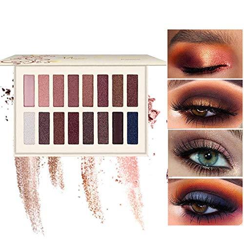 Eyeshadow Makeup Palette - with Mirror, Shimmer Matte High Pigmented Eyeshadow Pallet Nude Professional Makeup Warm Natural Long Lasting Waterproof Eye Shadow (16 Colors)