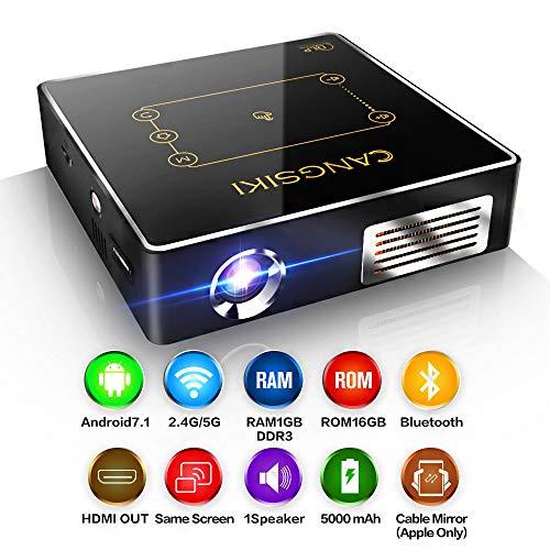 Mini proyector portátil, proyector, Soporte de Mini proyector de Video LED 1080p, batería de 5000 Mah, con Soporte y Cable de Alta definición