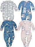 Sibinulo Nino Nina Pijama Bebé Pelele de Algodón Pack de 4 Koala Beige Osos...