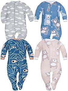Sibinulo Nino Nina Pijama Bebé Pelele de Algodón Pack de 4 Koala Beige Osos Azul Marino en Las Hojas Nubes Osos Azul Marino 56(0-3 Meses)