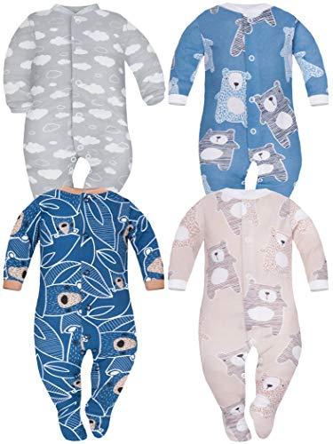 Sibinulo Nino Nina Pijama Bebé Pelele de Algodón Pack de 4 Koala Beige Osos Azul Marino en Las Hojas Nubes Osos Azul Marino 62(0-3 Meses)