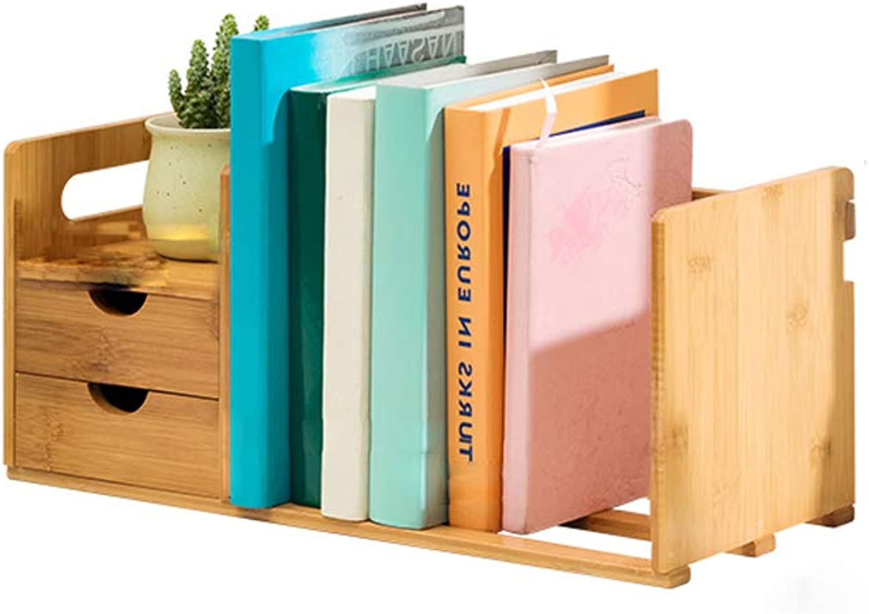 SLH Double Drawer Simple Table Bookshelf Student Mini Desktop Storage Shelf