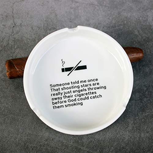 Cenicero de cerámica Inicio Oficina Redonda Cigarrillo Portátil Ash Bandeja Holde Fumar Yixianjiacheng (Color : Someone White)