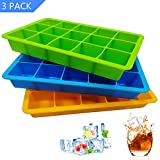 Ice Cube Trays 3 Pack, Flexible 15-Cavity Silicone Ice Cube Molds - BPA Free, Ice Tray Stackable...