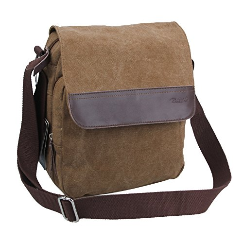 Hot Sale Zicac Brown Canvas With Genuine Leather Messenger Bag Case Casual Bags Shoulder Bags For Men Young People Student Brand NEW