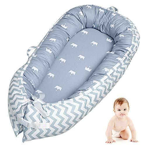 VIVILINEN Nido Bebé Recién Nacido,Algodón 100% Reductor de Cuna Nidos para Bebes, Cojin Cuna Bebe Colecho, Cama Cana Nido de Viaje, 90 x 50 cm (Gris-3)