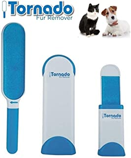 Tornado Pet Fur Hair Brush Lint Remover Reusable Self Cleaning for Clothing, Furniture with Self-Cleaning Base Double-Sided Brush Removes Dog & Cat Hair