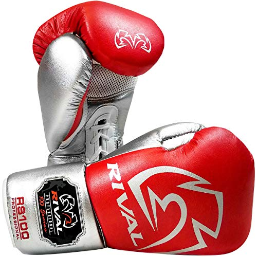 RIVAL Boxing RS100 Pro Sparring Gloves - 16 oz. - Red/Silver