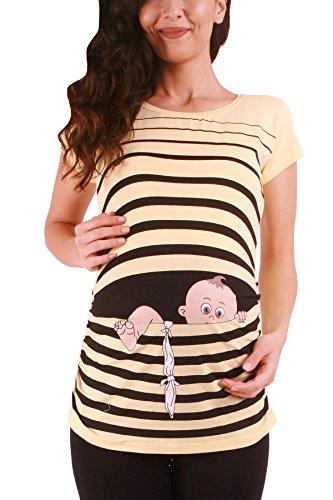 Fuga de bebé - Moda premamá Divertida y Dulce - Camiseta premamá Sudadera con Estampado Durante el Embarazo - Camiseta premamá, Manga Corta (Amarillo, Medium)