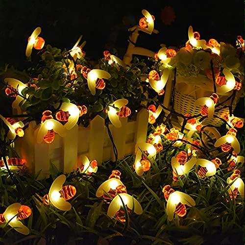 Cadena de luces solar Bee para exterior, impermeable, LED, luz de abeja, 6,5 m, 30 ledes, luz solar para jardín, árboles, terrazas, patios, casas, cadenas de luz decorativas