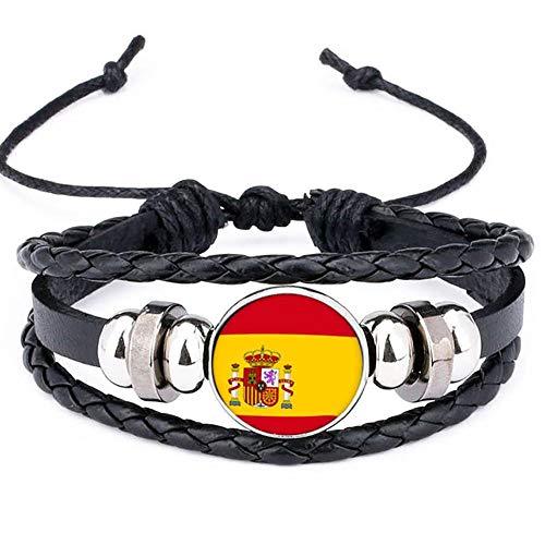 España Bandera Nacional Encanto De La Pulsera De Los Brazaletes De Cuero Trenzado De Fútbol Banderas Muñequera Equipo Venda De La Pulsera De La Mano