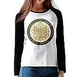 University of California UCSD Logo King Triton Women Raglan T Shirts Baseball TEE Design Black