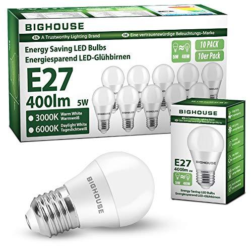 E27 LED Lampe, 5W 400 Lumen Ersatz für 40W Halogenlampen, 3000K Warmweiß Leuchtmittel, 180° Abstrahlwinkel, Tropfen (10 Stück)