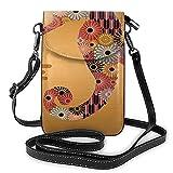 Bolso cruzado pequeño para teléfono celular, decoración ornamental de caballito de mar con líneas florales y rayas estilo Kitsch lindo imagen
