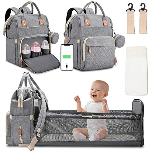 Diaper Bag Backpack with Changing Station Portable Baby Bag Foldable Baby Bed Back Pack Travel Waterproof Large Travel Bag with USB, Stroller Straps, Insulated Pockets, Gift for Mom Dad Light Grey