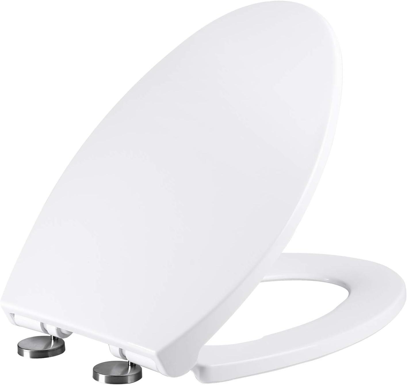 MUYE Elongated Toilet Seat Quiet-Close Never Loosen Quick Release White Toilet Seats Easy Installation No Slamming