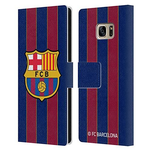 Head Case Designs Oficial FC Barcelona Casa 2020/21 Kit de Cresta Carcasa de Cuero Tipo Libro Compatible con Samsung Galaxy S7 Edge