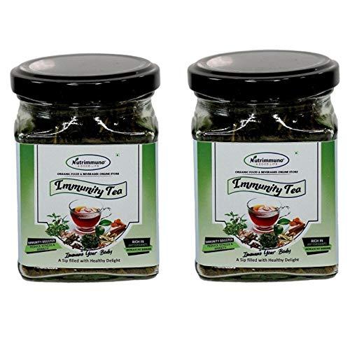 Nutrimmuno Natural and Delicious Classic Immunity Green Tea/All-Natural Authentic Immunity Green Tea Powder/Healthy Delight Organic Herbal Immunity Tea – Set of 2, 65 + 65 Grams