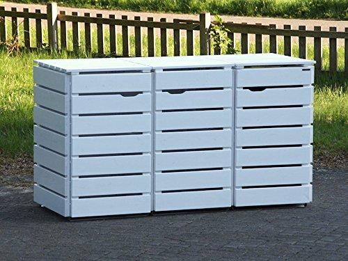 3er Mülltonnenbox / Mülltonnenverkleidung 240 L Holz, Deckend Geölt Weiß