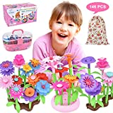 Flower Garden Building Toys for Girls 3 4 5 6 Year Old, Educational Preschool Activities Toy Gardening Birthday Gifts,Indoor Outdoor Stacking Game Pretend Playset for Toddler Kids and Children 146Pcs
