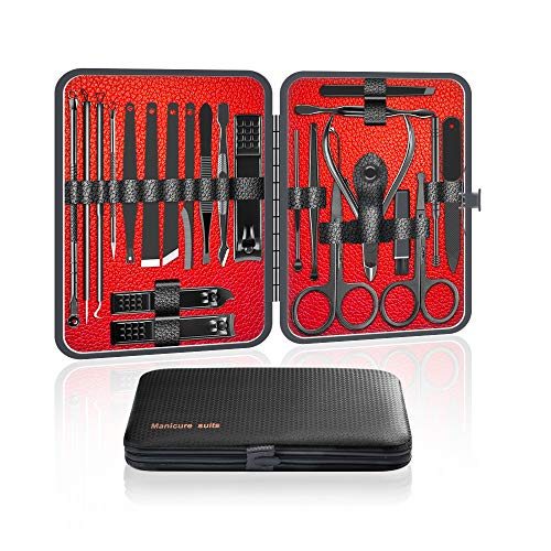 Ywoow Nail Clippers Set Stainless-Steel - 23 pcs Manicure Set Professional Beauty Tools Kit Hook Tweezer Manicure Nail Trimmer Grooming Kit