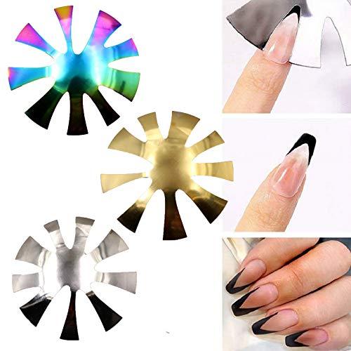 3 Stück French Nail Manicure Edge Trimmer, Nagelschneiderplatte French Manicure Nail Art Making Clipper Plattenmodul, 9 Größen Cut V Line Gel Cutter Tool, Edelstahl DIY Nail Cutter Tool