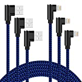 iPhone Charger 10ft 90 Degree Lightning Cable Right Angle iPhone Charging Cable 3 Pack Nylon Braided Fast Charger Cord Compatible iPhone X/XR/XS/11/8 Plus (Blue Black,10 Foot)