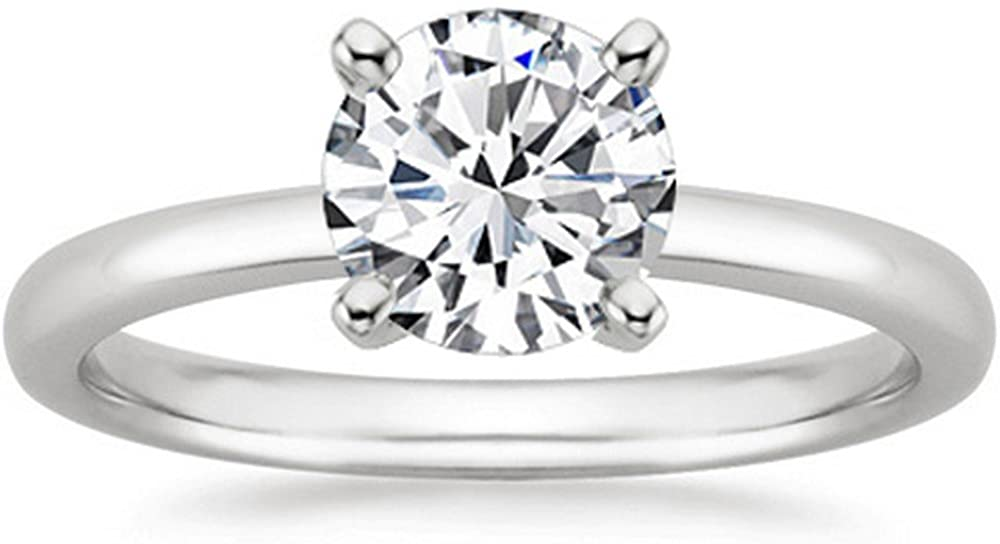 0.46 Ct Round Cut 4 Prong Solitaire Diamond Engagement Ring 14K White Gold (I Color VVS2 Clarity)
