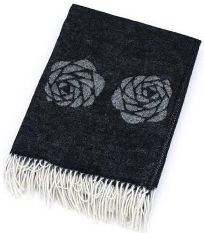 Klippan Plaid schwarz Blume Pony weiß Elfenbeinfarben