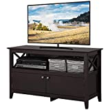 YAHEETECH X Shape Wooden TV Stand Base Console Storage Cabinet Home Media Entertainment Center with 2 Doors Living Room Furniture