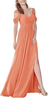 Jonlyc Pleated A-Line Cold Shoulder Chiffon Long Bridesmaid Dress with Slit