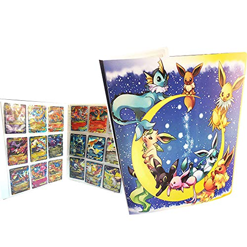 Card Holder Collection Handbook Trading Card Album for Pokemon Holds up to 324 Trading Cards (Pikachu Cover Blue Deluxe Edition)