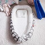 N-B Cama Nido de bebé de 85 * 50 cm con Almohada, Cuna portátil, Cama de Viaje, Cuna de algodón para niños pequeños, Cuna para Cuna de bebé recién Nacido, Parachoques