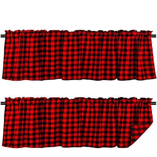 Tatuo 2 Pieces Buffalo Check Plaid Window Valances Farmhouse Design Window Decor Curtains Rod Pocket Valances for Kitchen, Bathroom and Living Room, 16 x 56 Inch (Black and Red)