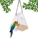 yideng Bird Feeder con Pesce persico Stand, Ventosa e Catena appesa, Acrilico Finestra Uccello alimentatori Esterna Bird House Fuori Feeder, Backyard Garden per Finestra