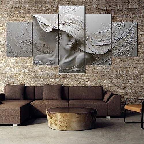 SPLLEADER 2020 Modern 3D Stereoscopic Embossed Canvas Painting Gray Beauty Oil Painting Modern Abstract Art Wall Poster Living Room Bedroom 5 Piece (Size (Inch) : Size A)