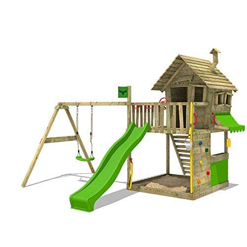 FATMOOSE Speeltoestel voor tuin GroovyGarden met enkele schommel en appelgroene glijbaan, Houten speeltuig, Klimtoestel voor buiten met zandbak en klimladder, Speelhuis voor kinderen