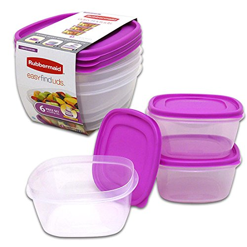 Find Cheap Rubbermaid Easy-Find Lid Food Storage Container, 14-Cup, Purple - 6 Piece Set