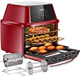 OMMO Air Fryer Oven, 17 Quarts 1800W Air Fryer Toaster Oven, 8 Presets & 40+ Recipes, Oilless Countertop Oven for Air Frying, Rotisserie, Dehydrating and Baking, Dishwasher Safe Accessories (RED)