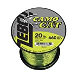 Zebco Camo Cat Monofilament Fishing Line, Hi-Vis Yellow and Low-Vis Moss Green, 660-yard/20-pound